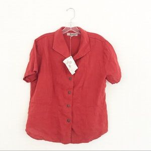 FLAX NWT Rusty Red 100% Linen Button Down Top